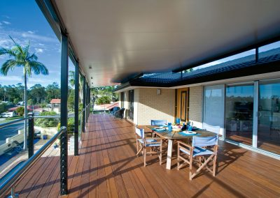 Outdoor awning roof on timber deck