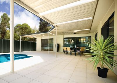 Pool area awning roof