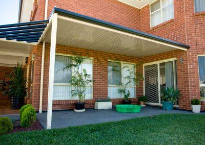 Cream colourbond awning roof installation