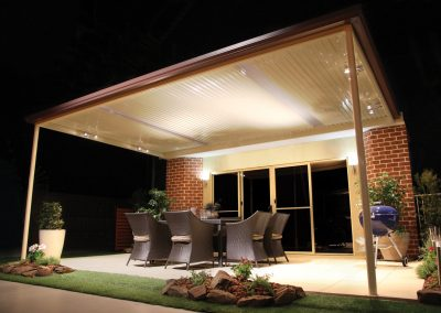 Entertaining area roof with lights