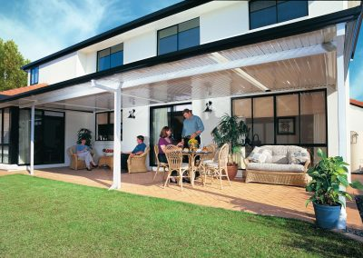 Awning Roof White with black gutters